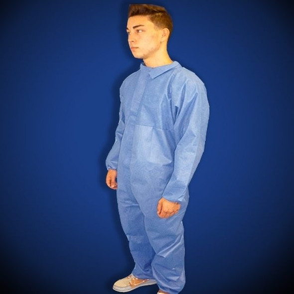 ProGard Blue SMS Coveralls, elastic wrist & ankle, 25/case | Harmony Lab and Safety Supplies