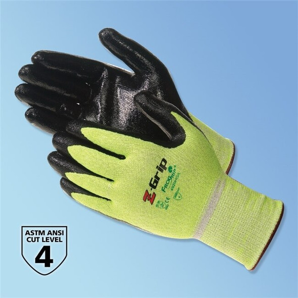 Get Z-Grip Nitrile Coated Cut Resistant Glove, High Visible Green/Black, Pair LIB4920HG at Harmony