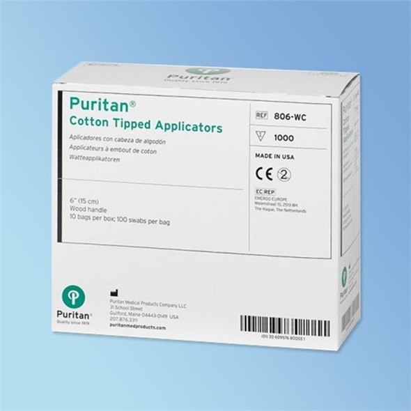 Puritan Cotton Swab, 6 in. Wood Shaft, Regular Tip
