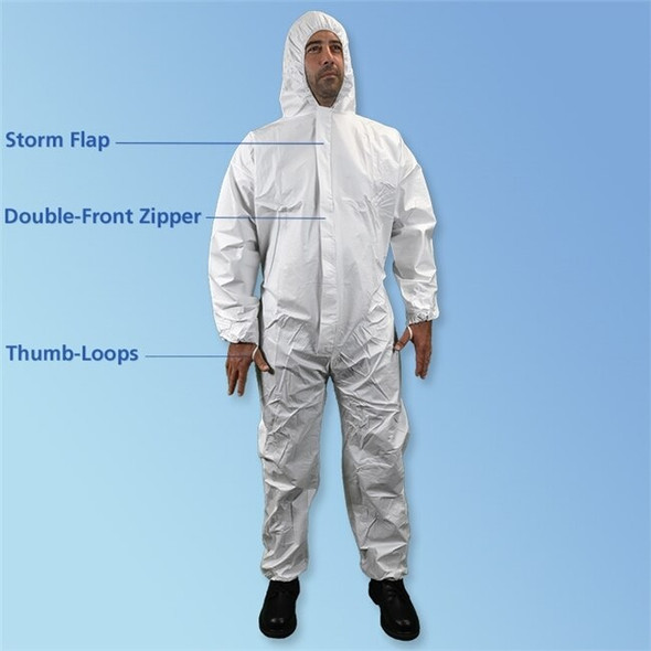 Get ISO 5 Microporous Coveralls with Hood, White, 25/cs T185-CE at Harmony