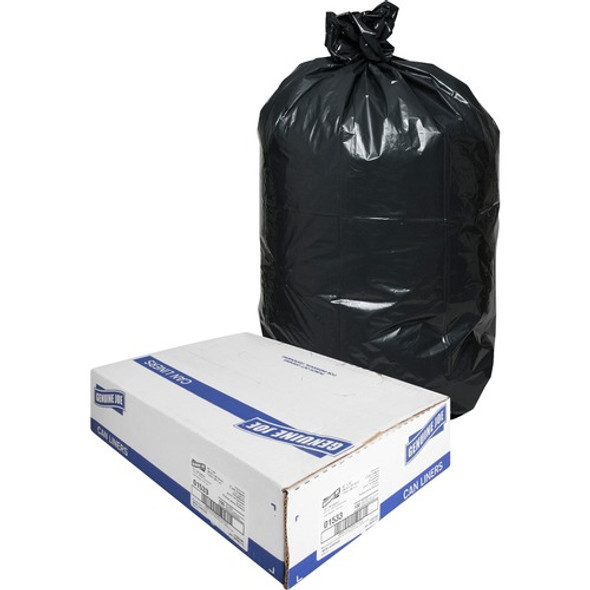 Genuine Joe 01533 Black Low Density Trash Can Liners, 33 x 40 in., 33 gal., 1.5 mil, 100/case | Harmony Lab and Safety Supplies