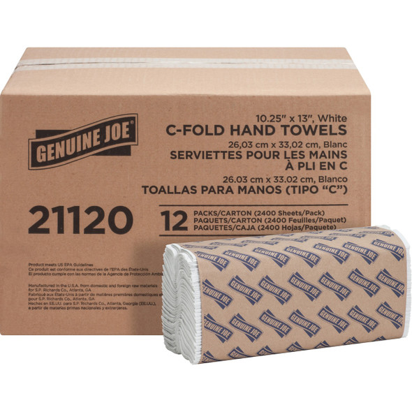 Genuine Joe C-Fold Towels, White, 2400/case (L6220) by Harmony Lab and Safety
