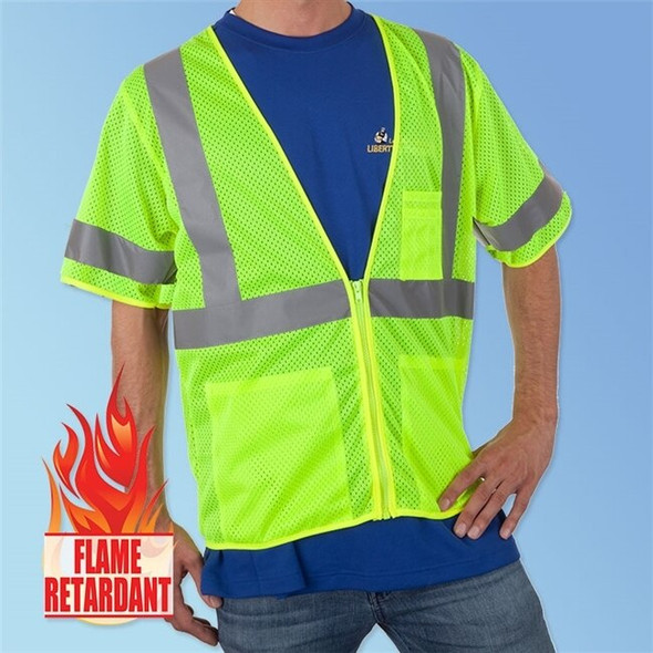 Get HivizGard Class 3 Fire Retardent Mesh Safety Vest with Sleeves, Lime Green LBFR16004G at Harmony