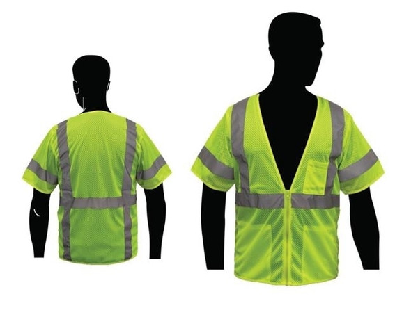 HivizGard Class 3 Fire Retardent Mesh Safety Vest with Sleeves, Lime Green, each