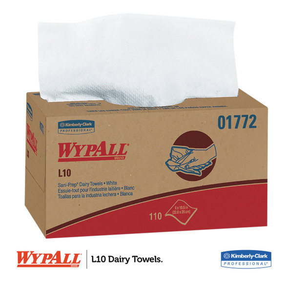 "Get Wypall L10 Sani-Prep Dairy Towels, 9"" x 10.3"",  1980/case L01772 at Harmony"