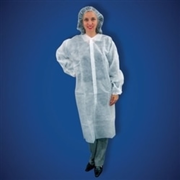 Get Keystone Polypropylene White Frocks, Elastic Wrist, No Pockets, 30/cs T250-WH at Harmony