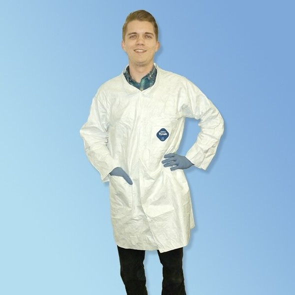 Get Tyvek TY212S Lab Coats, Open Wrist, Snap Front, 30 cs TY212S at Harmony