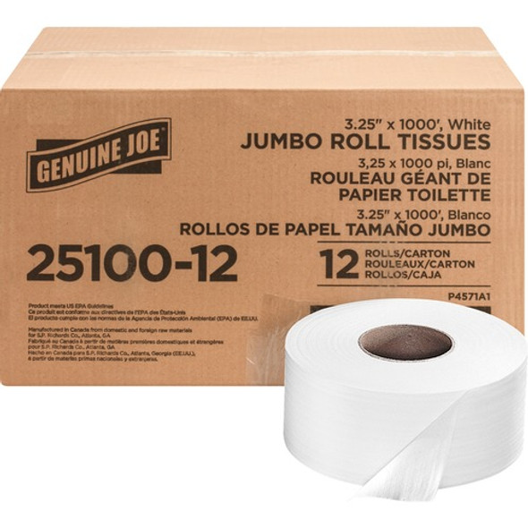 "Get Genuine Joe Jumbo 2 Ply Toilet Tissue, 3.25"" x 1000 ft., 12 rolls /case at Harmony Lab & Safety Supplies."