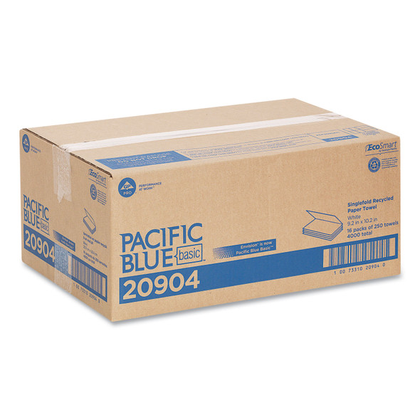 Pacific Blue Single-Fold Towels, White, 3000/case