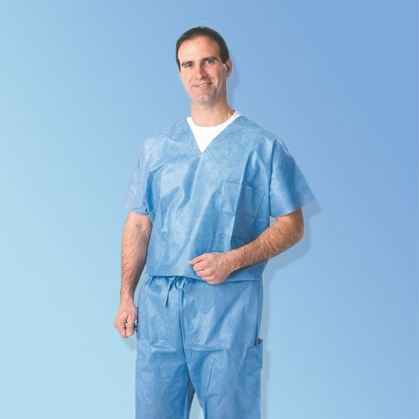 Get Disposable Blue Scrub Shirts, 30/cs 27202 at Harmony