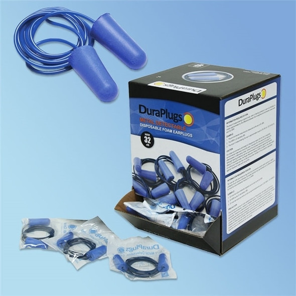 Get DuraPlugs Detectable Disposable Foam Earplugs, 32 NRR, Corded 100 pairs LB14322 at Harmony