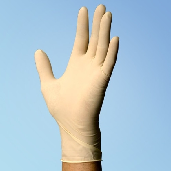 "Techniglove Latex Cleanroom Gloves 9"" 5 mil thick with micro textured fingertips"