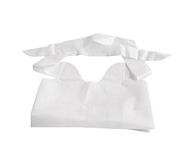Waterproof Plastic Disposable Bibs with Ties, 500/case | Harmony Lab and Safety Supplies