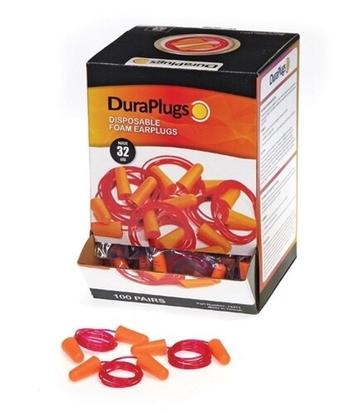 Get DuraPlugs Disposable Foam Earplugs, 32 NRR, Corded 100 pairs LB14311 at Harmony