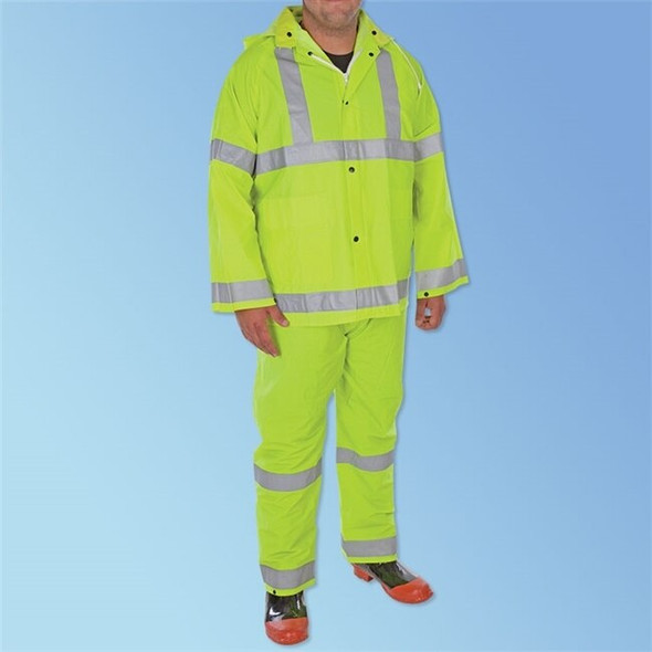 Get PVC/Polyester Hi-Vis Green 3-Piece Rainsuit, ea LB1260H at Harmony