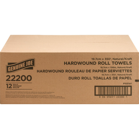 Get Genuine Joe Embossed Hardwound Towel, 350 ft. roll, 12/cs at Harmony Lab & Safety Supplies.