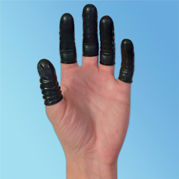 Suzuki ESD Static Dissipative 4 Mil Black Latex Finger Cots, Powder Free. Prevent damage to ESD-sensitive electronic components.F6R-PF Sizes Small to Extra-Large at Harmony Lab & Safety Supplies.