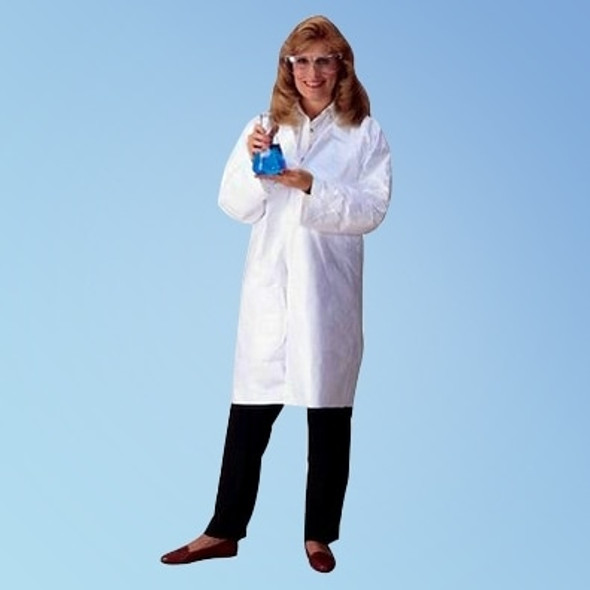 DuPont TY210S Tyvek White Frocks with open wrist, snap closure front, no pockets and collar