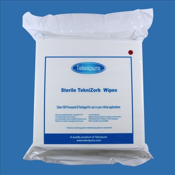 "Get TekniZorb 9"" x 9"" Sterile Poly/Cell NonWoven Cleanroom Wiper, 100/bag, 30 bags/cs TZ199S at Harmony"