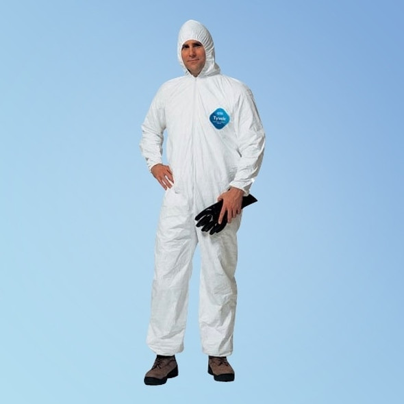 DuPont Tyvek TY127S White Coveralls with attached Hood, Elastic Wrist and Ankle