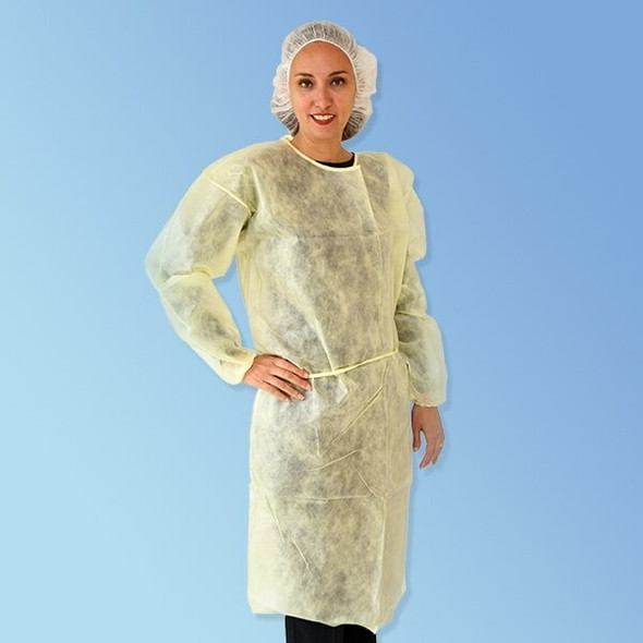 Get Yellow Keystone Polypropylene Isolation Gowns with elastic cuff, 50/case T270 at Harmony