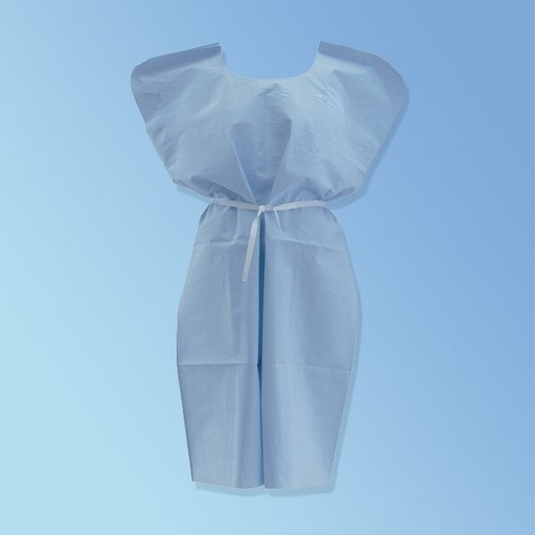 Medline Disposable Fluid Resistant Patient Gowns, Blue