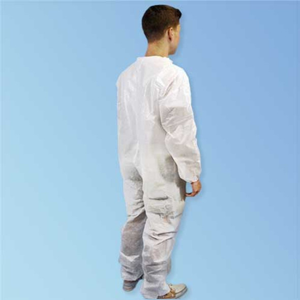 Back of PureGard 17125 Polyethylene (PE) Coated Polypropylene Disposable White Coveralls with Elastic Wrists and Ankles at Harmony Lab & Safety Supplies