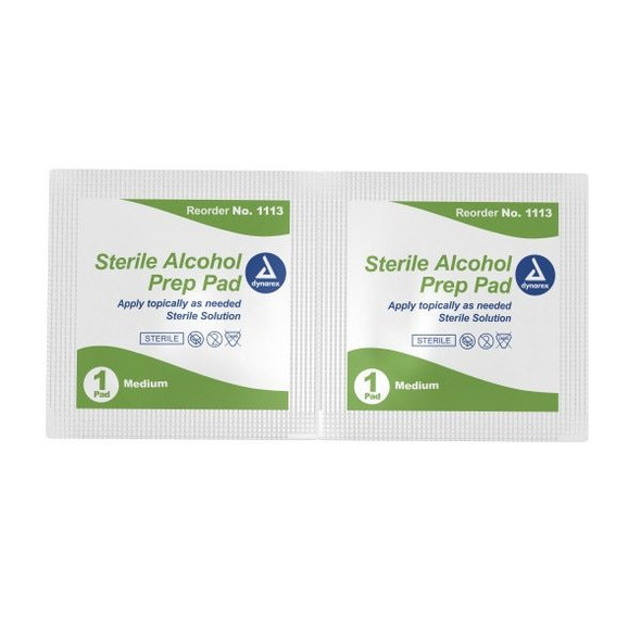 Get Dynarex 1113 Sterile Alcohol Prep Pads, Medium, Box of 200 at Harmony