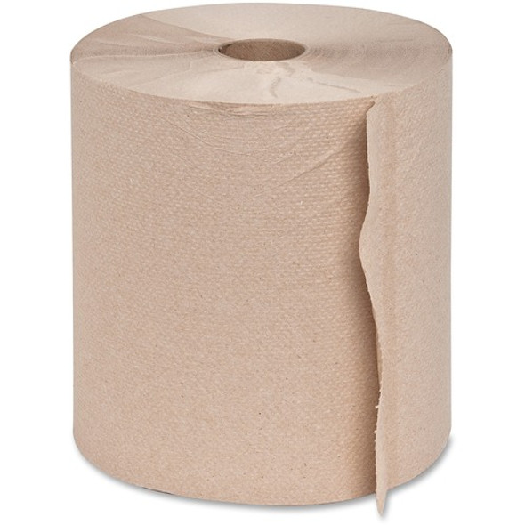 Genuine Joe Embossed Hardwound Roll Towels, 800ft, 6/case