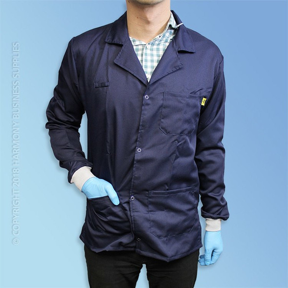 Get Cleanroom ESD Lab Coats, Knit Cuff, Blue, ea T252-CE-EESD2-BE at Harmony