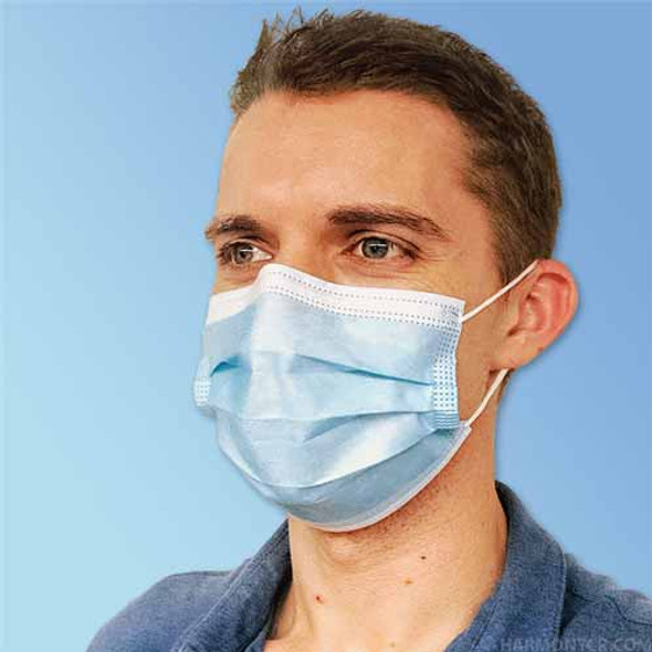 Intco Blue Ear-Loop Disposable 3 Ply SMS Polypropylene (Spunbond, Meltblown, Spunbond) Face Masks, 50/box (FM301)