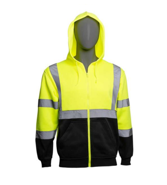 HivizGard Class 3 Safety Sweatshirt, Lime Green with Black Bottom Front (C16734GB) by Harmony Lab and Safety