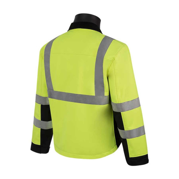 HivizGard Class 3 Soft Shell Jacket, Lime Green, Black Bottom, each