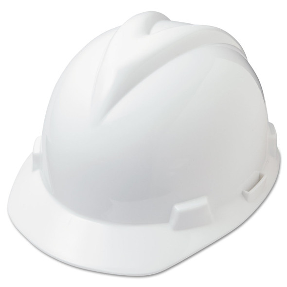 Save on V-Gard Full Brim Hard Hat, Fas-Trac III Rachet Suspension, White, MSA475358 ea