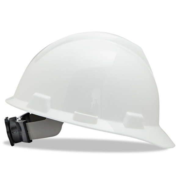V-Gard Slotted Cap Style Hard Hat, Fas-Trac III Rachet Suspension, White, ea | Harmony Lab and Safety Supplies