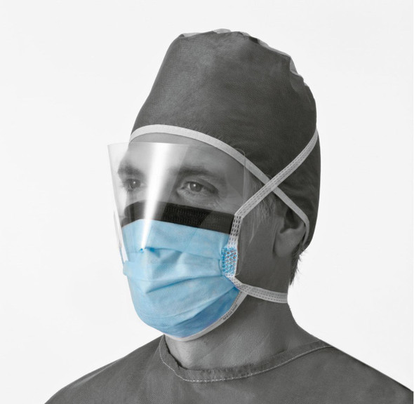 Get Surgical Face Masks w/Anti-Fog Shield and Ties, Blue, 25/box NON27420 at Harmony