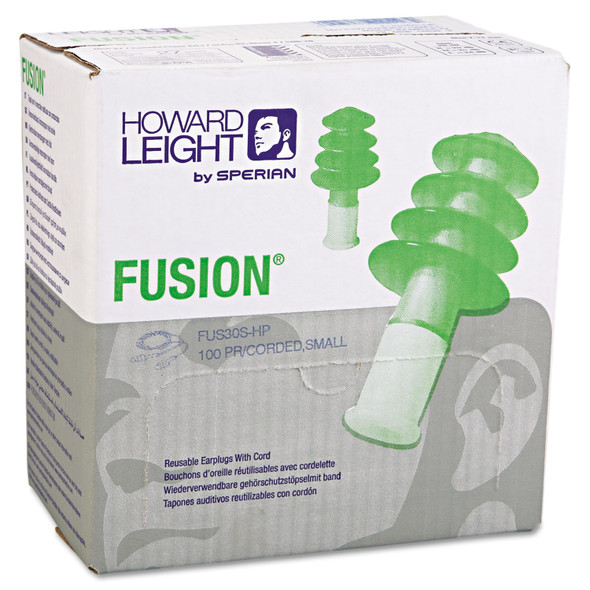Get Howard Leight® by Honeywell Fusion Reusable Earplugs, Corded, 27NRR, Small, 100/pairs (FUS30S-HP) at Harmony