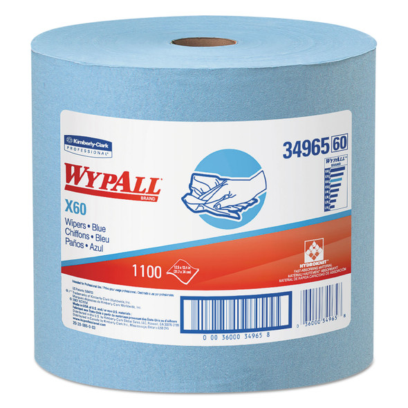 "Get Wypall X60 Jumbo Roll Blue Wipes, 12.5"" x 13.4"", 1100/roll (KCC34965) at Harmony"