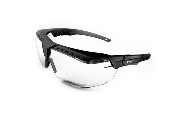 Uvex Avatar OTG Safety Glasses, Anti-Fog Clear Lens, Black Frame, S3850 at Harmony