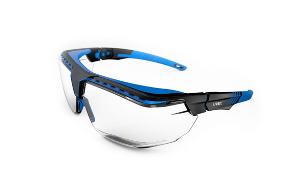 Uvex Avatar OTG Safety Glasses, Anti-Fog Clear Lens, Blue/Black Frame, S3853 at Harmony