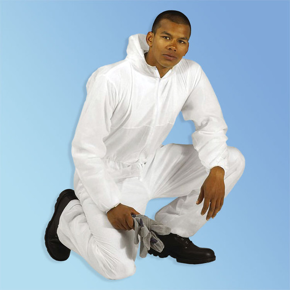 Get Keystone White SMS Coveralls with Hood, 25/case (T185-SMS-WH) at Harmony.
