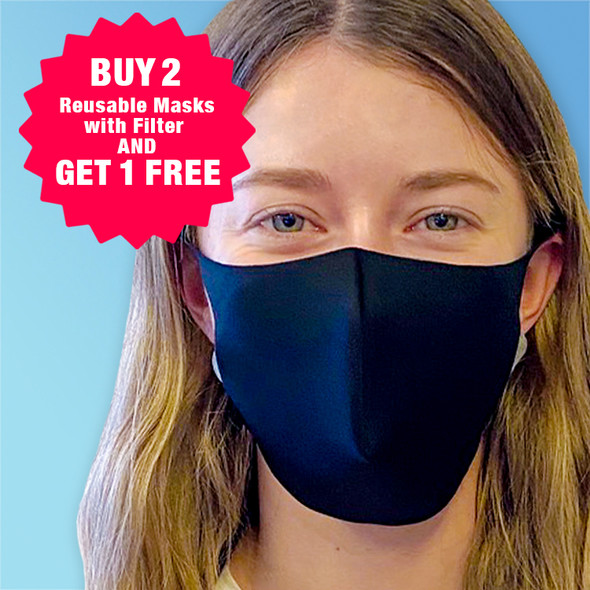 Buy 2 Reusable Masks with Filter and Get 1 FREE at Harmony Lab and Safety Supplies