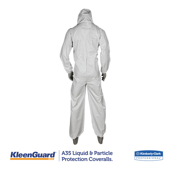 KleenGuard A35 Microporous Coveralls with Hood, White, 25/case