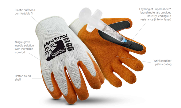 Get HexArmor® - SharpsMaster II® 9014 Needlestick Resistant Latex Coated Gloves at Harmony
