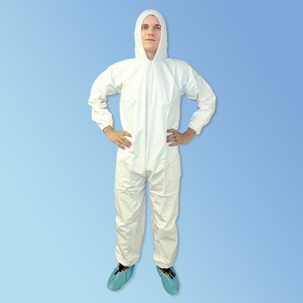 PermaGard Heavyweight White Microporous Disposable Hooded Coveralls (LIB18127) - Harmony Lab & Safety Supplies