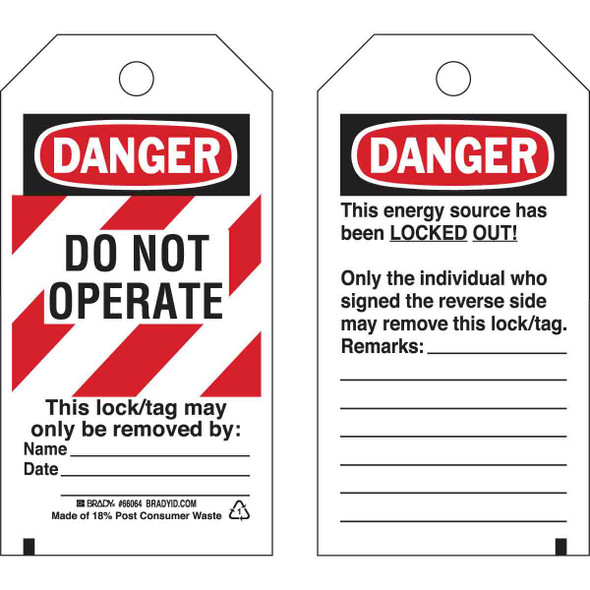 Get Brady Lockout Tags, DANGER DO NOT OPERATE (with Stripes), Self-Laminating, Polyester (BRC-66064) at Harmony