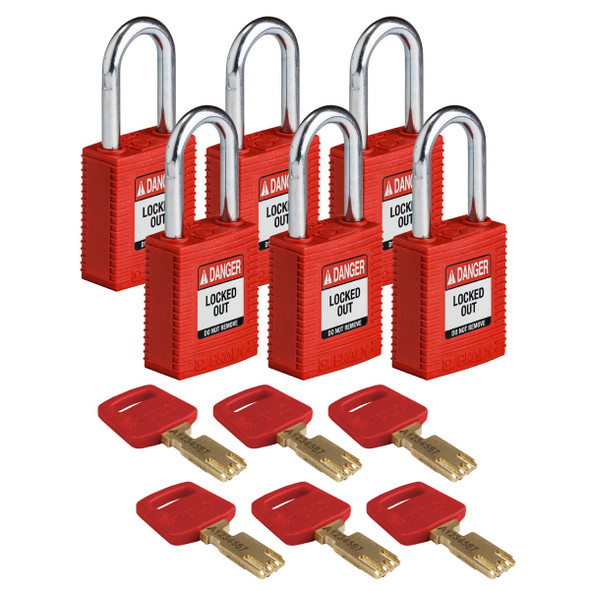 Get Brady SafeKey Nylon Lockout Padlocks with Steel Shackle, Keyed Different, 6/pack, Red (NYL-RED-38ST-KD6PK) at Harmony