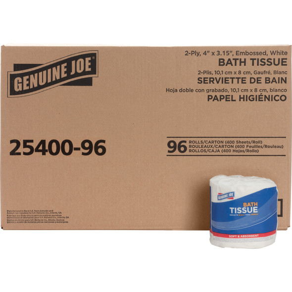 Genuine Joe 2-Ply Toilet Tissue, 400/roll, 96/case (25400-96)