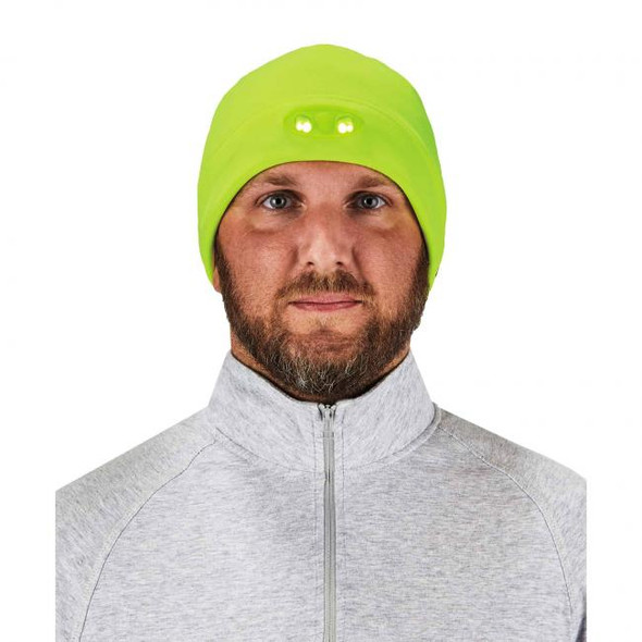 Ergodyne  16802 N-Ferno 6804 Skull Cap Beanie Hat with LED Lights, Lime, at Harmony Lab & Safety Supplies (Front view, LED on)