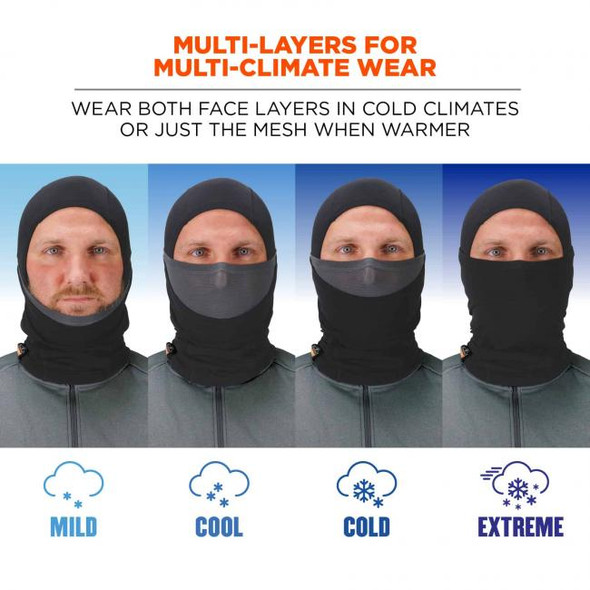 Ergodyne N-Ferno 6838 Solar-Activated Dual-Layer Balaclava, Black, for multi-climate use
